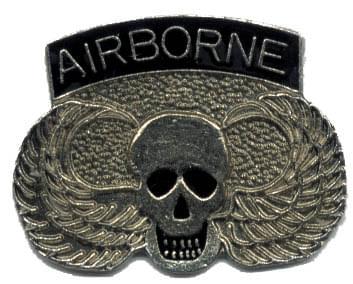 Airborne W Skull Amp Wings Lapel Pin Hat Pin