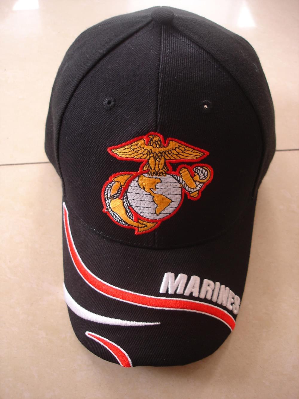 U S Marine Insignia Emb Hat Black Made In Taiwan