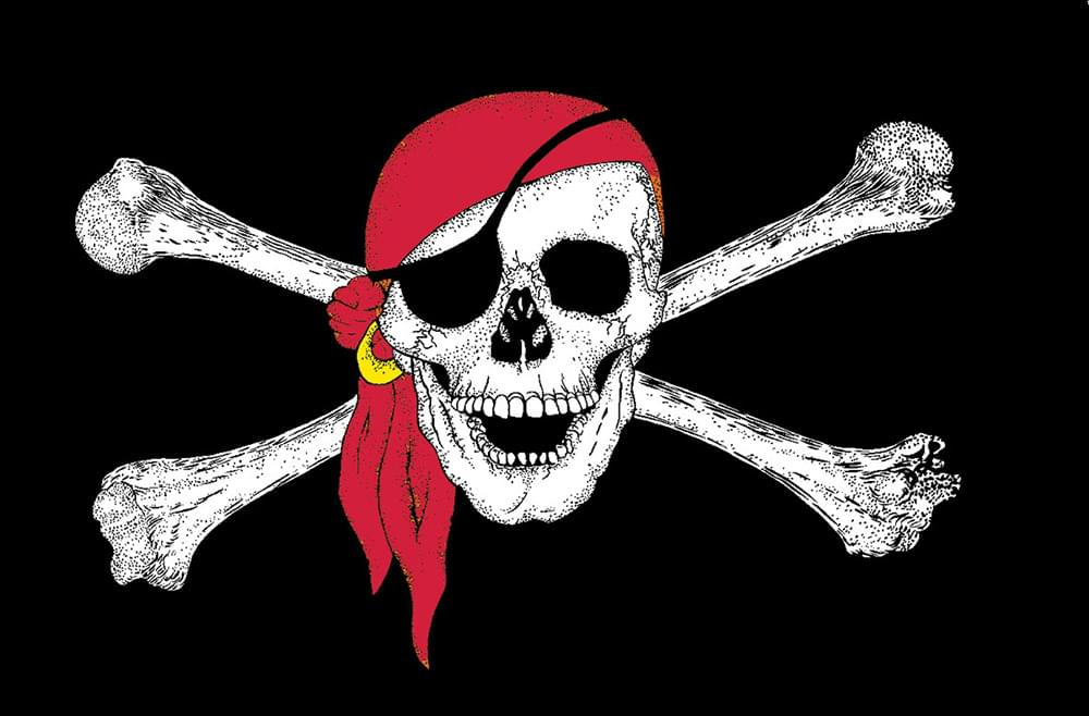 Pirates W/Red Scarf  4'x6' 110D Knitted Polyester Flag - Flags